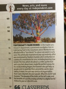 Yarn Bomb in the Independent